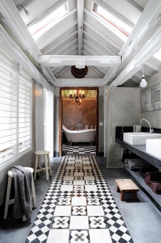 Banho Rustico Branco e Preto