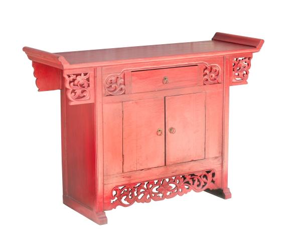 Cômoda Chinesa Vermelha com duas portas e uma gaveta - Westwing - www.westwing.com.br