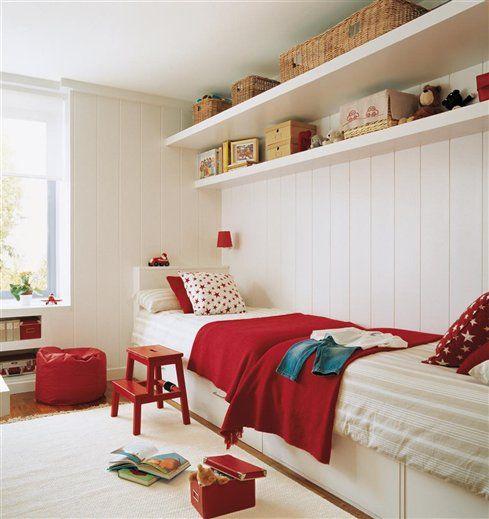 Quarto Branco e Vermelho decorarst ~ Quarto Solteiro Vermelho E Branco