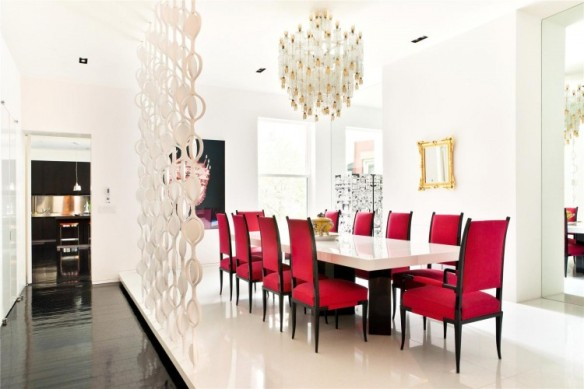 Pink-Chairs-With-White-Table-Under-Beautiful-Chandelier-For-Dining-Room