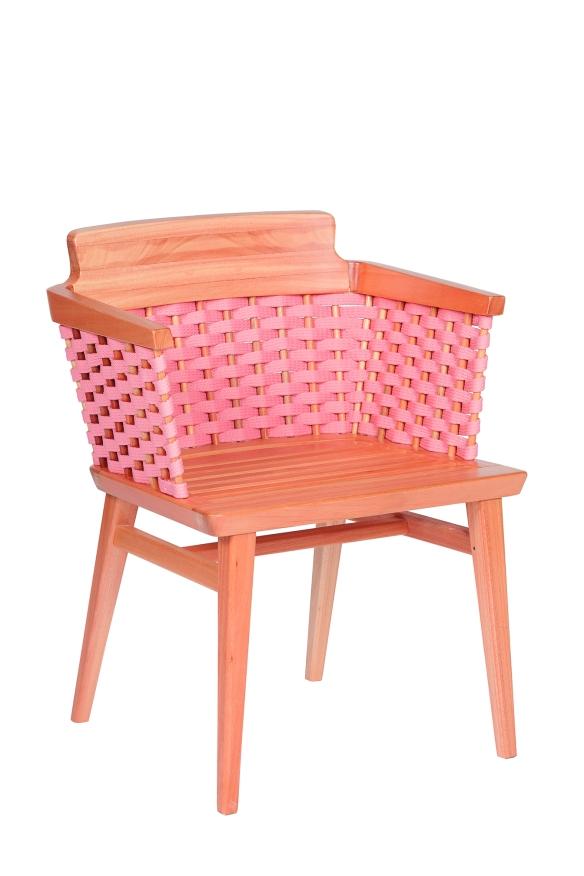 Cadeira Lótus com Braços Trama Rosa -Verniz Natural - Estudio Asa Design para Butzke
