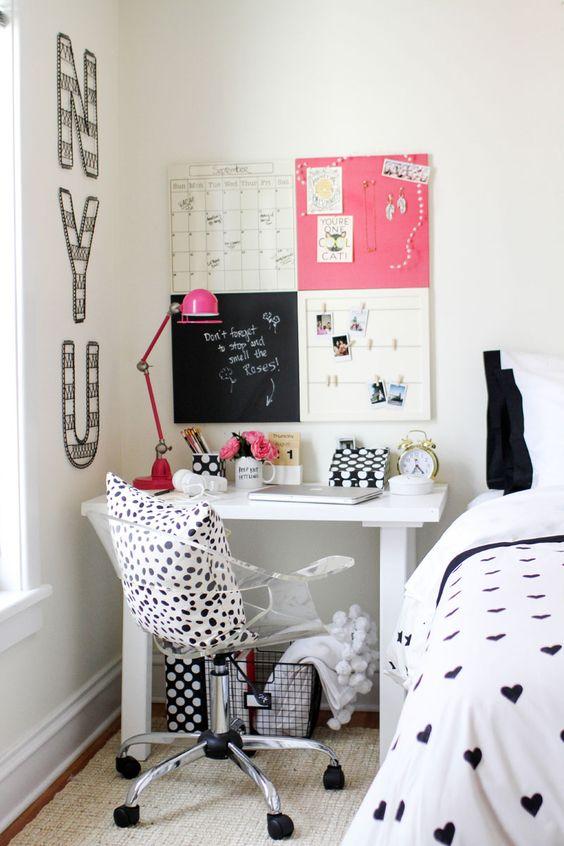 quarto branco, preto e pink