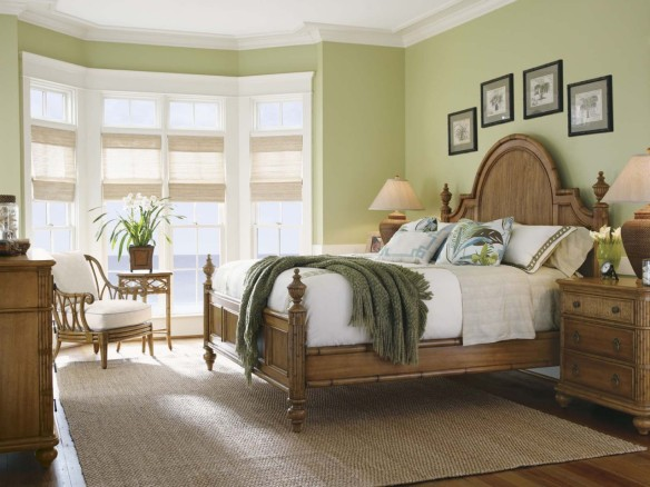 classic-tommy-bahama-bedroom-furniture-design-feats-protruding-bay-window-and-greenery-houseplant-aside